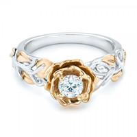 ingrosso bi anelli-Anello da donna da donna a forma di fiore bicolore color argento e oro con 5 misure a scelta