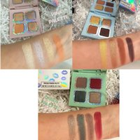 Wholesale green highlighters - New Kourt x Palette Eyeshadow Cosmetics Pink Blue Green Palette 4 Colors Highlighter & Eyeshadow DHL Free Shipping