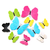 Wholesale Green Day Wall Stickers - 7cm 9cm 12cm Single Layer Wings Butterflies 3D Cinderella Butterfly 6 Pure Colors Removable Wall Stickers
