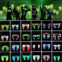 Wholesale light up costume men - New Waterproof LED Luminous Flashing Cool Face Mask Party Masks Light Up Dance Halloween masks Costume Decoration Cosplay Party SuppliesI318