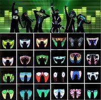 trajes impermeáveis venda por atacado-Novo À Prova D 'Água LEVOU Luminoso Piscando Legal Máscara Do Partido Máscaras Acender Dança Halloween máscaras Traje Decoração Partido Cosplay SuprimentosI318