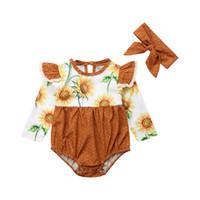 зимняя одежда для новорожденных оптовых-Pudcoco Newborn Baby Girl Sunflower  Long Sleeve Romper Polkadot Patchwork Jumpsuit Headband 2pcs Fall Winter Clothes