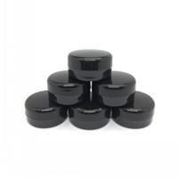 schwarze nagelfarbe großhandel-3Gram Kosmetik Probe leer Jar Kunststoff Runde Topf schwarz Schraubverschluss Deckel, kleine kleine 3g Flasche, für Make-up, Lidschatten, Nägel, Pulver, Farbe