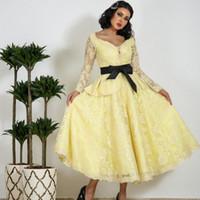 Wholesale dress women long red belt - Yellow Long Sleeves Prom Dresses With Black Ribbon Belt Lace Tea Length Evening Gowns Saudi Arabia Women Formal Wear Custom Made Vestidos