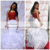 Wholesale red lace peplum top - 2018 South Africa Style Dark Red Top White Prom Dresses Spaghetti Appliques Beaded Ruched Tiered Skirts 2k17 2k18 Formal Evening Party Gown