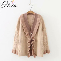 ingrosso cardigan aperto-H.SA 2018 Autunno Inverno Maglione Cardigan Ruffles Knit Coat Open Stitch Maglione Poncho Oversized Jacket Twisted Loose Cadigans