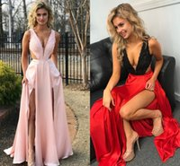 Wholesale Over Front - 2018 Sexy Split Prom Dresses Deep V Neck Sleeveless Lace Satin Floor Length Cutaway Side Over Skirt Black Red Pink Homecoming Dresses