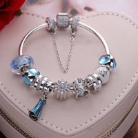 Wholesale valentine packages - 2018 new arrival Valentine gifts Elsas dress dangle charm bracelets 925 sterling silver jewelry full package box gifts for her