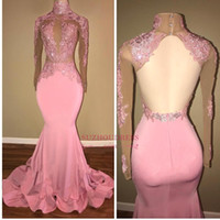 Wholesale crystal light candy resale online - Candy Pink Long Sleeve Evening Dresses High Neck Lace Top Mermaid Open Back Crystal Sequins Sexy Prom Gowns BA7959