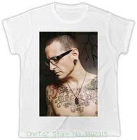 tatuaje de cuello de chicos al por mayor-O cuello manga corta niño algodón hombres Chester Bennington tatuaje Cool Linkin Park tributo camiseta unisex para hombre
