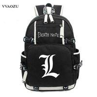 çanta japonya anime toptan satış-Japonya Anime Death Note Sırt Çantası Büyük Oxford Aydınlık Baskı Omuz Çantası Erkek Kız Seyahat Dizüstü Kitap Çantaları için
