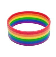 regenbogen-armbänder großhandel-neues Art und Weise Silikon Regenbogen Stolz Armband Mutilayered Gummi Homosexuell Lesben LGBT Armband Schmuck