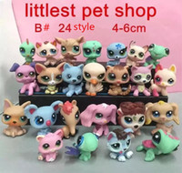 DHL 3 style 24 p / lot Aléatoire 3-6 cm Littlest Pet Shop Q LPS-Littlest Shop Série Pet Poupée Animaux de Bande Dessinée Chat Chien Figurines Collection Jouets