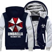 Wholesale white fleece jacket for men online – oversize 2018 Anime Resident Evil umbrella Hooded Coat hot Winter Warm Hoodie Thicken Zipper Jacket Sweatshirt cotton long sleeve For Men