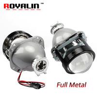 Wholesale bi xenon h4 projectors - ROYALIN Car Styling Halogen Lens Full Metal H1 Mini HID Bi Xenon Headlight Projector Lens 2.5 H4 H7 Auto Mini Gatling Gun Masks