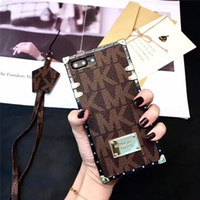 Wholesale m lanyard - For iphone 8 case luxury Letter brand silicone classical cases for iphone x pu leather M protective lanyard cover for iphone 6 6s plus 7 8