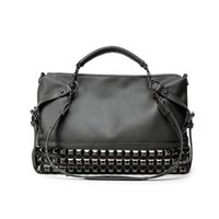 grandes bolsos grandes negros al por mayor-Rivet Women's PU Leather Handbag Big Black Bolsas de mano High Quality Designer Mujeres Large Shopping Bolsas de hombro sac a main