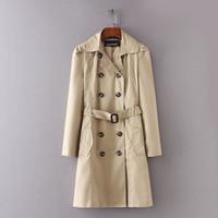 фиолетовое весеннее пальто оптовых-ASDS женщины двубортный пальто женский повседневная тонкий с длинным рукавом хаки ветровка женщины весна осень пальто WWT8663 Y1891708