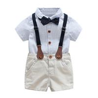 ingrosso usura del partito dei neonati-Baby Boy Gentlemen 3pcs Outfit Set Estate Neonato Set di abbigliamento per neonato Tie Shirt + Abbigliamento generale per neonato per abiti da festa