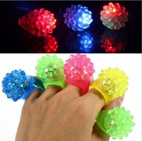 Wholesale led flashing jelly rings - New Arrival LED Ring Light Ring Flash Light LED Mitts Cool Led Light Up Flashing Bubble Ring Rave Party Blinking Soft Jelly Glow Party Favor