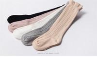 rodilla bebé calcetines para niño al por mayor-Tubo de bebé Medias con volantes Niñas Niños Uniforme Calcetines hasta la rodilla Bebés y niños pequeños Algodón Color puro 0-3T B11