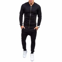 espesar ropa deportiva al por mayor-Algodón Slim Sportswear Hombres Summer Warm Chándales Hombres S Sets Thicken Fleece Plus Size XXXL Hoody Hoodies + Pants Sweat Suit
