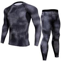 LINDSEY SEADER Men's snake print Gym Fitness out fit training Running Tights Jogging Suit compress longsleeve set shirt+pant
