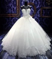 Wholesale bead embroidery wedding dress for sale - 2018 Bling Embroidery Ball Gowns Wedding Dresses Cheap Sweetheart Beaded Crystal White Ivory Lace Tulle Country Bridal Dress Lace Up Back