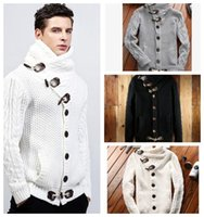 mens camisola de malha solta venda por atacado-Mens Cardigan Sweater Coat Outono Inverno Casual Turtleneck Sweatercoat para homens Loose Warm Knitting Clothes Sweater Coats KKA3822