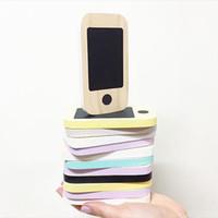mensagem celular venda por atacado-Miúdos De Madeira Telefone Brinquedos Crianças Nórdicas Início Miniaturas Estatuetas Placa De Mensagem Primária Do Telefone Móvel Presentes de Lousa