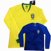 neymar jr brasil jersey al por mayor-2018 2019 Brasil Camiseta de fútbol de manga larga 18 19 en casa PAULINHO MARCELO P.COUTINHO G.JESUS NEYMAR JR Uniformes de fútbol completo S-2XL