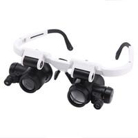 saat tamiri için camlar toptan satış-Kafa Gözlük Büyüteç Büyüteç Çift LED Işık 8X 15X 23X Işıklı Büyüteç İzle Onarım Lambası Gravür ve Tamir