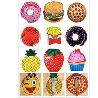 Wholesale strawberry mats resale online - Round Beach Shower Towel Blanket Yoga New Chiffon Towel Picnic Mat Blanket For Emoji Pineapple Ice Cream Strawberry Watermelon Skull HH7