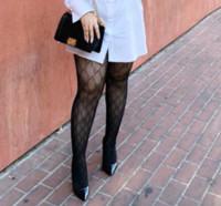 Wholesale knitted pantyhose - Fashion Black Women Sexy g letter mesh Thigh High Stockings Pantyhose Long Socks
