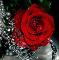 flores de resina vermelha venda por atacado-Diamante bordado flor rosa vermelha diy pintura diamante kit ponto cruz resina completa rodada diamante mosaico decoração de casa yx4110