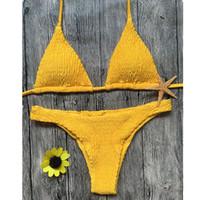 bikini mini hot toptan satış-Sıcak sapan bikini düz renk kadın mayo bikini set mayo Çok arsız brezilyalı alt Maillot De Bain tanga Bikini 872