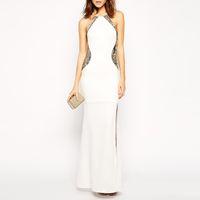 ingrosso abiti scontati europei-The 2018 Explosion of European Style Dress Sexy Slim Dress Long White Red Black Discount Store