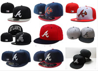 Wholesale brown brim hat - Men's Braves fitted hat flat brim embroiered team A letter logo fans baseball Hats Cheap Baseball High Crown Caps braves full closed cap