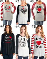Wholesale clothes womens wholesalers online - Womens Valentines Clothing Big Girls Long Sleeve Letter Printed Raglan Tops O Neck Loose Casual Pullover Maternity Tops Tees YYA1130