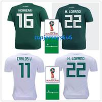 Wholesale h cup - Mexico soccer jersey + patch 2018 world cup Mexico H. LOZANO CARLOS V J. HERNANDEZ H. HERRERA A. GUARDADO Football shirts
