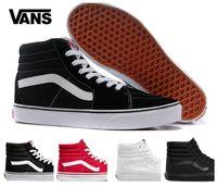 Wholesale black canvas high top sneakers - 2018 Vans SK8-Hi Classic White Black zapatillas de deporte Women Men Old Skool High-top Canvas Casual ShoeTrainers Sneakers