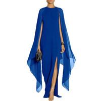 diseño de vestido azul negro al por mayor-Negro / azul / rojo / morado nuevo diseño largo Batwing manga elegante Ladies Casual Party Wear Side Split Sexy gasa Maxi vestido al por mayor