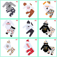 Wholesale wholesale clothing for girls for sale - 0 Years Baby Boys Girls Christmas Xmas Halloween Custome Thanksgiving Clothing Sets for Girl Boy Romper T Shirt Pants Cap Outfits