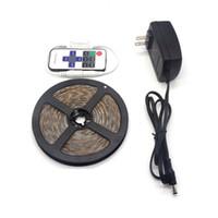 Wholesale More Brighter - RGB 5M 2835 SMD 300s LED Strip light + 11keys Mini RF Wireless Remote Controller + 12V dc 3A Power EU US Supply more Brighter