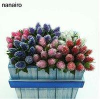 suni kalemler toptan satış-12 adet Cam Çilek Yapay Berry Kiraz Simülasyon Meyve Kırmızı Stamens İnci Nar Düğün Ev Dekorasyon