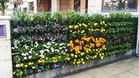 wand hing blumenbeutel großhandel-Taschen-Blumentopf-Pflanzer auf Wand-hängendem vertikalem Filz-Gartenarbeit-Betriebsdekor-Grün-Feld wachsen Behälter-Taschen im Freien