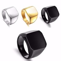 черные обручальные кольца оптовых-2018 Fashion Punk Simple Full-faced Light Body Block Rock Black Rings Titanium Steel Cool Men Ring Wedding Engagement Jewelry