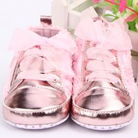 Wholesale baby rose soft sole shoes resale online - Fashion First walkers kids Toddler Shoes sapatos baby Lace up Rose flower soft sole Girl shoes