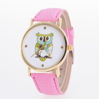 Wholesale owl dress blue - Fashion cartoon owl print women watches Luxury PU leather quartz casual wristwatches ladies Dress Famous brand watch gifts Accessories new