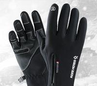 Wholesale black leather touchscreen gloves resale online - Outdoor waterproof gloves winter touchscreen men s windproof and warm keeping full finger zipper sport velvet mountaineering and skiing